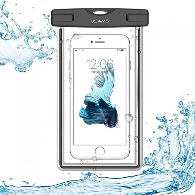 USAMS IPX8 Waterproof Case Touch Screen Luminous Transparent Window Dry Bag for Cell Phone Under 6 inch