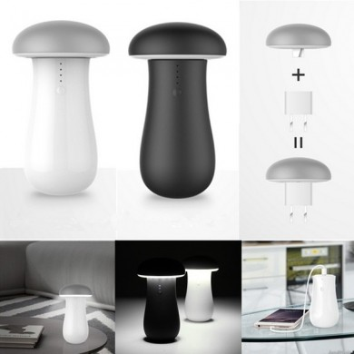 LED Wireless Mushroom Night Lamp Power Bank Portable Power Source Table Light