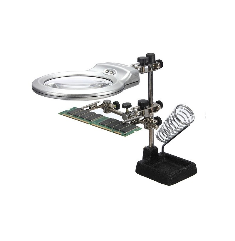 Hands Clamp Clip LED Lights Glass Magnifier With Soldering Stand Tools фото