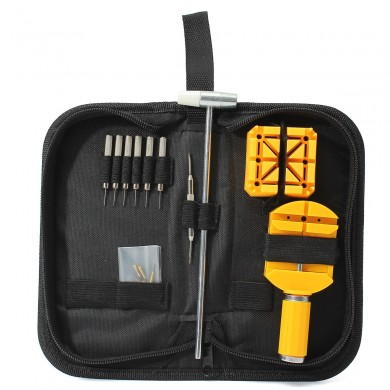 16Pcs Watch Repair Tool Kit Case Band Remover Spring Bar Hammer Carrying Case