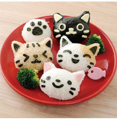 4pcs / set pp cozinha ferramenta DIY kawaii arroz gato molde sushi do ovo de chocolate do molde