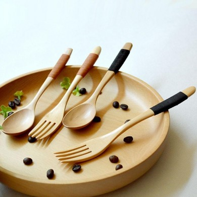 Wood 2 Pcs Spoon And Fork Dinnerware Sets Flatware Sets Wooden Spoon Fork Environmental Protection Flatware Set Kitchen Tools