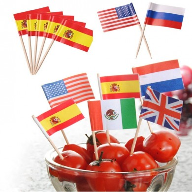 Honana 50 Pcs/Lot Mini Flag Fruit Toothpick Paper Flag Food Picks Cake Toothpicks Cupcake Fruit Sticks World-Cup Party Christmas