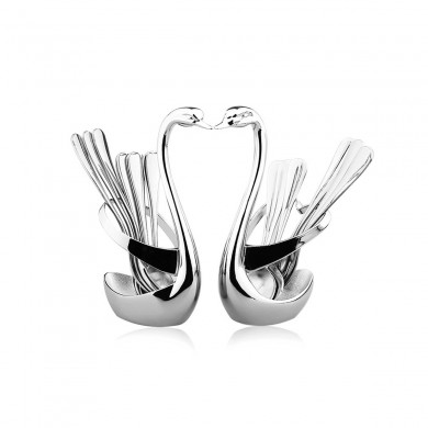 KCASA Swan Stainless Steel Fruit Food Fork Spoon Knife Base Holder Set Creative Gift Tableware Knife Base Holder Spoon And Forks