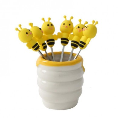 6 Pcs Silicone Bee Fruit Forks Mini Cartoon Animal Stainless Steel Salad Dessert Picks Tableware With Ceramics Pot  Table Decora