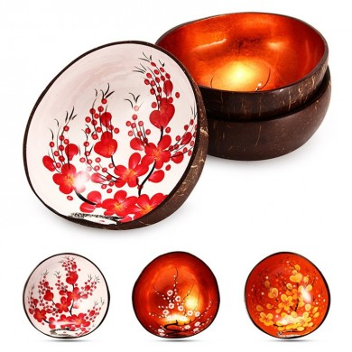 Natural Coconut Shell Bowl Handmade Paint Dishes Vintage Craft Home Decorations