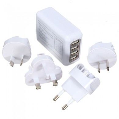 4 Port USB Multifunctional Travel Plug Charger Adapter for Universal International Usage