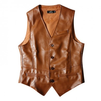 Mens Cool PU Faux Leather Formal Business Slim Fit Waistcoat
