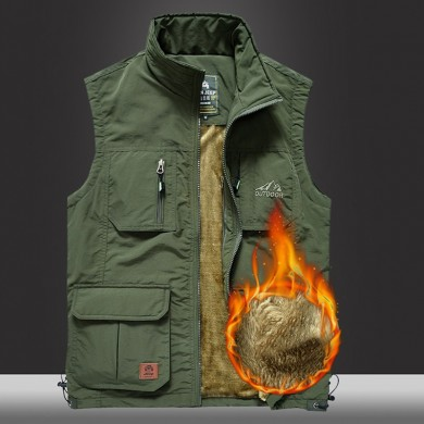 Mens Fleece Lining Thickened Warm Multi Pockets Outdoor Vest