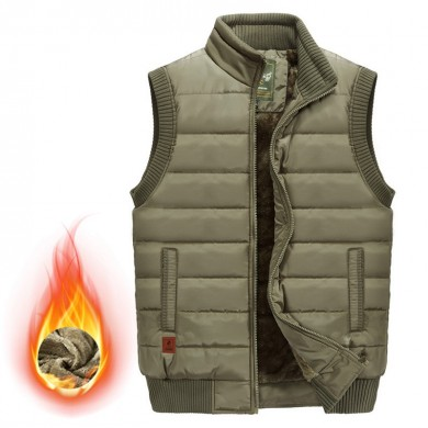 Mens Stand Collar Thick Fleece Warm Solid Color Vest