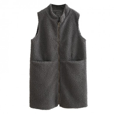 Mens Fall Winter Zipper Pocket Faux Shearling Vest