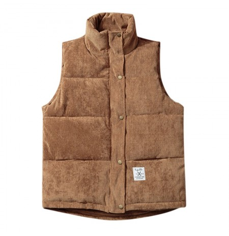 Mens Trendy Corduroy Stand Collar Thick Warm Vest Sleeveless