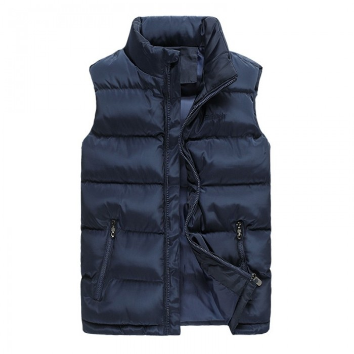 Mens Plus Size Winter Thick Warm Solid Color Paddd Vest