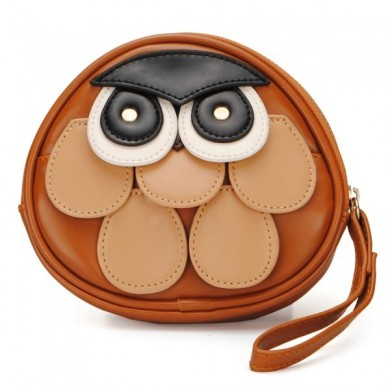 Cute Cartoon Owl Pattern Girls Small Clutch Wallet Coins Bag Purse
