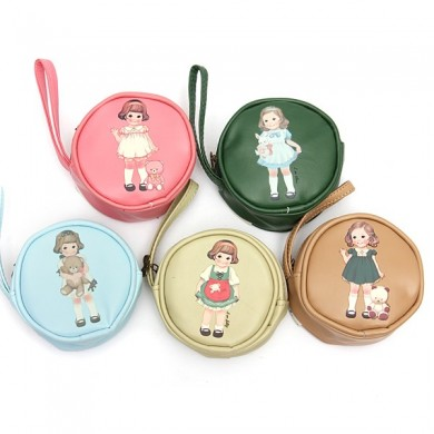 PU Leather Colourful Doll Girl Round Zip Bag Coin Purse Wallet