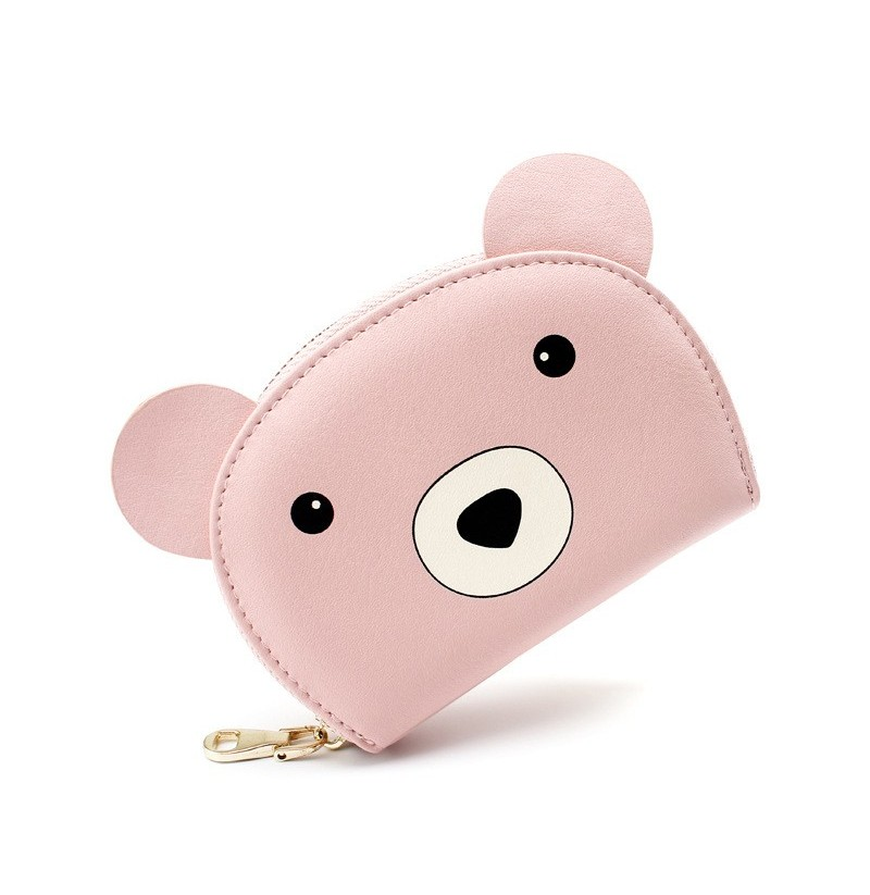 Women Faux Leather Cartoon Bear Printed Coin Purse Card Hold (Color: Green) фото