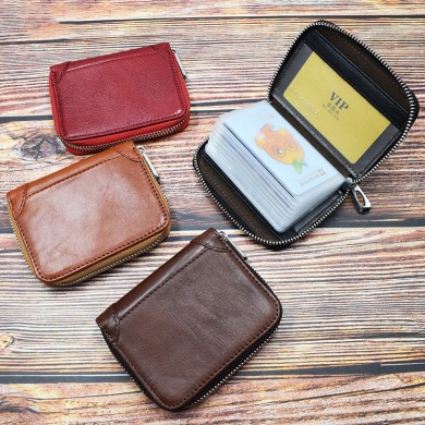 Women Men Genuine Leather 20 Card Slot Retro Card Holder