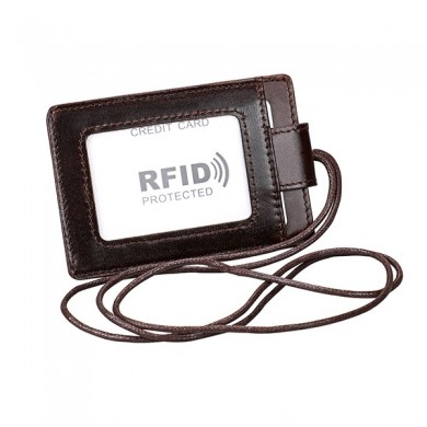 RFID Genuine Leather 4 Card Slot Neck Bag Card Holder
