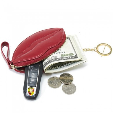 Women Faux Leather Shopping Lip Shape Coin Bag
