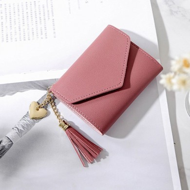 Women Faux Leather Tassel Mini Short 6 Card Slot Wallet
