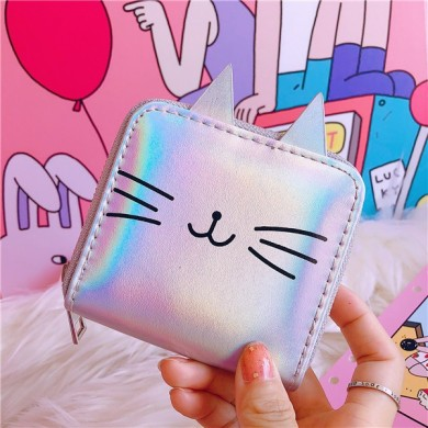 Women Cute Faux Leather Cat Shape Short Wallet Coin Purse
