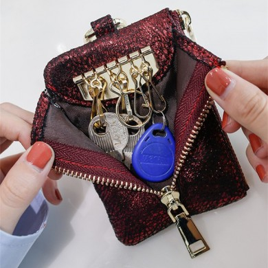 Women Faux Leather 6 Key Holder Key Bag Purse Sequin