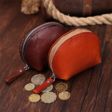 Retro Genuine Leather Vegetable Tanned Shell Coin Bag