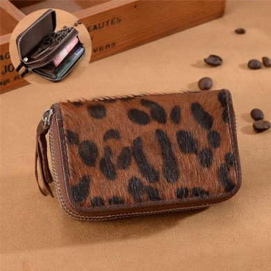 Leopard Print Genuine Leather Retro Car Key Holder Sheepskin