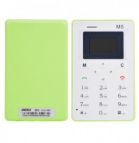 AIEK M5 4.8mm 1.0 Inch Alarm Clock Ultra Thin Mini Card Pocket Mobile Phone Green
