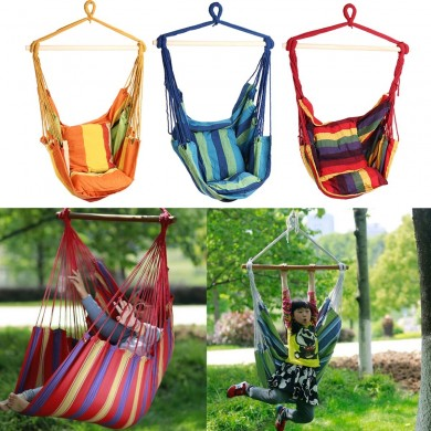 Outdoor Canvas Hammock Chair Swing Hanging Chair Relax Soft Indoor Garden Camping Swing