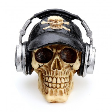 Resin Craft Head Skull Ornament With Headphone Cap Creative Figurine Party Halloween Decorations
