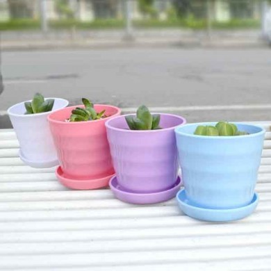 Plastic Thread Flower Pot With Tray Garden Plants Flowerpots