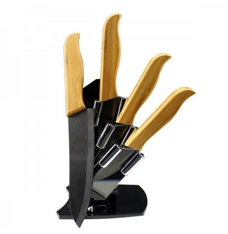Exquisite Bamboo Handle Blade Black Ceramic Knife Suit With Holder