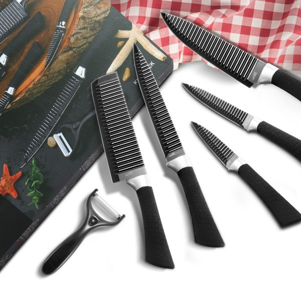 Kcasa KC-3Cr13I 6 Pieces 3Cr13 Stainless Steel Kitchen Knife Set Chef Carving Cleaver Utility Knife
