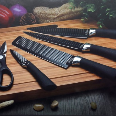 Kcasa KC-3Cr13II 6 Pieces 3Cr13 Stainless Steel Kitchen Knife Set Chef Carving Cleaver Utility Knife