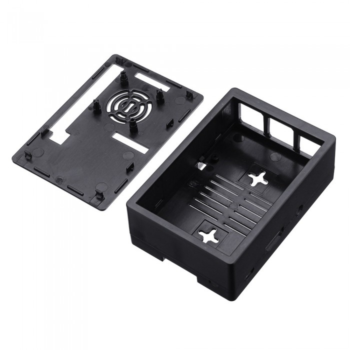 Black Dual Use TeNizo 2-in-1 Protective Case for Raspberry Pi 3B//3B+ 2B//2B+ and 3.5 Inch TFT Touch Screen with Mini Cooling Fan