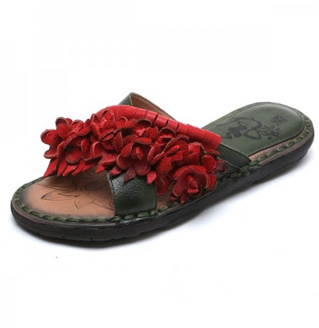 Women Flower Flat Slipper Genuine Leather Casual Sandals
