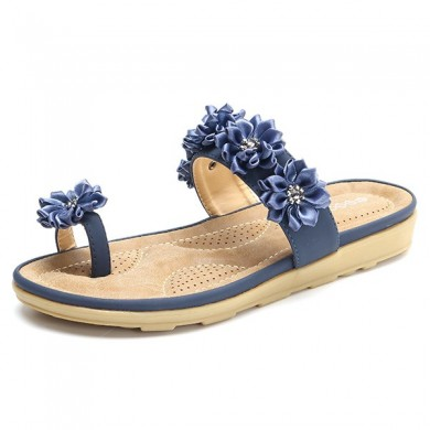 SOCOFY Flowers Casual Clip Toe Flats Slippers