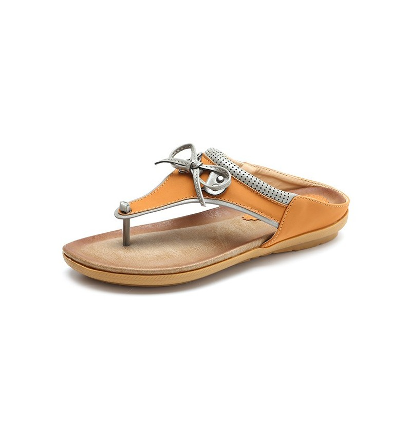 SOCOFY Butterfly Knot Clip toe Flat Slippers (Color: Brown, Size(US): 6) фото
