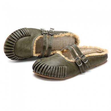 Mulheres Round Toe Flat Outdoor Sandals Casual Zipper
