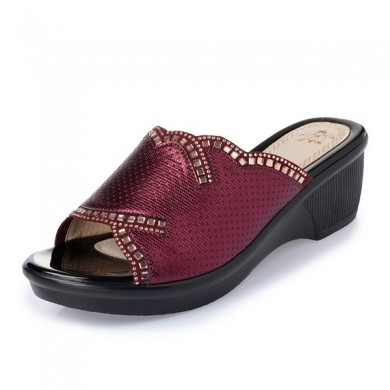 Slip On Wedge Sandals Casual Outdoor Praia Soft Sloe Slipper