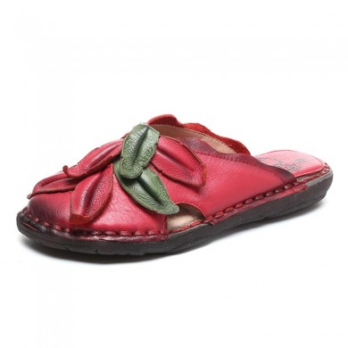 SOCOFY Retro Flower Casual Genuine Leather Slipper