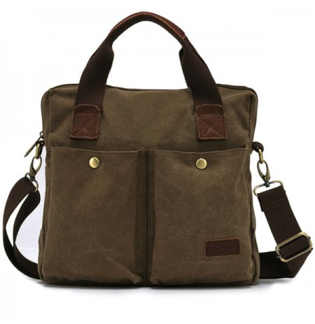 KAUKKO Men Vintage Canvas Military Shoulder Bag Messenger Crossbody Bag