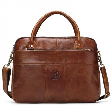 Men Genuine Leather Briefcase Tote Men Messenger Bag