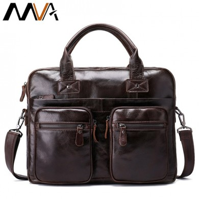 Men Retro Briefcase Genuine Leather Shoulder Bag