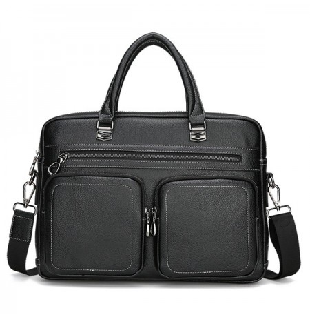 Men Genuine Leather Brief Briefcase Crossbody Bag