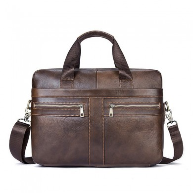 Genuine Leather Business Briefcase Large Capacity Handbag