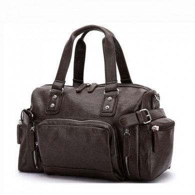 Men PU Leather Vintage Large Capacity Handbag Outdoor Bag