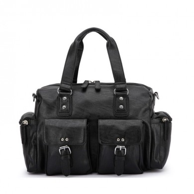 Men PU Leather Solid Vintage Large Capacity Handbag