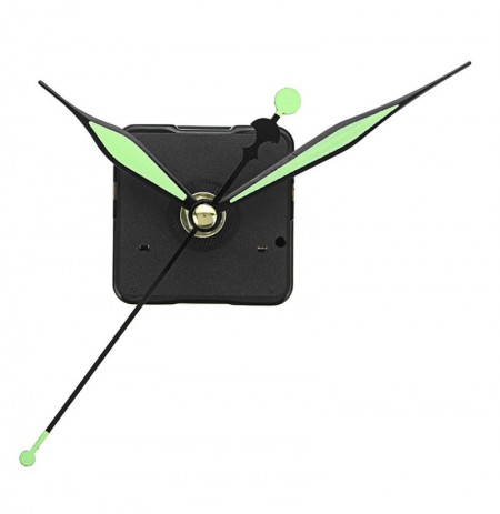 3pcs 20mm Shaft Length Green and Black Luminous Hands DIY Silent Quartz Clock Wall Movement Replacement Mechanism